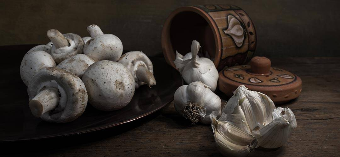 Mushrooms and garlic still life