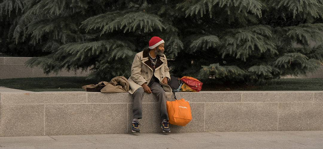 Homeless person at Christmas time